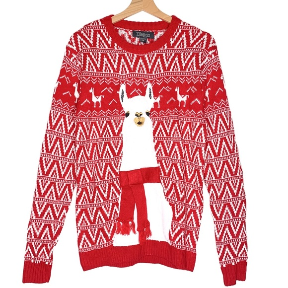 Llama Christmas Sweater.Ugly Christmas Sweater Red White Llama 33 Degree